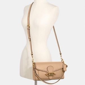 COACH Jade Taupe Shoulder Bag With Whipstitch